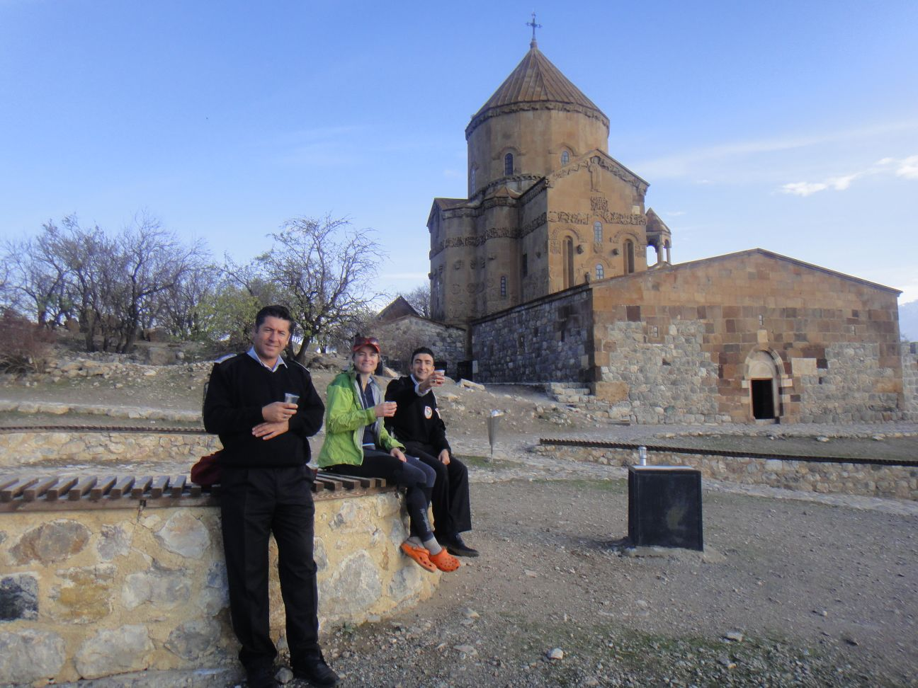 enjoying a cuppa with David and Arhan on the island with the Church of the Holy Cross in Lake Van