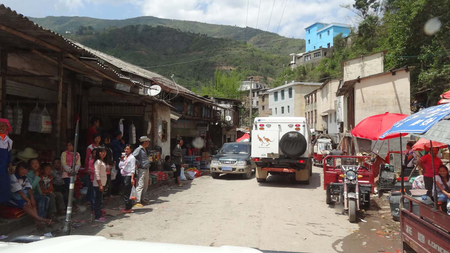 big trucks, small villages and narrow roads means slow progress