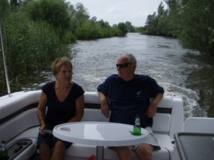 mum and dad enjoying the boat