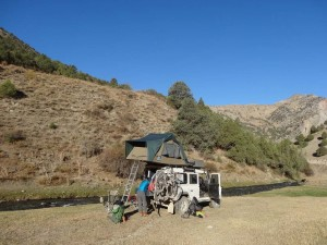 Campsite in Tajikistan, we are about to head off on a 3-day hike and leave Lara behind for a few days.
