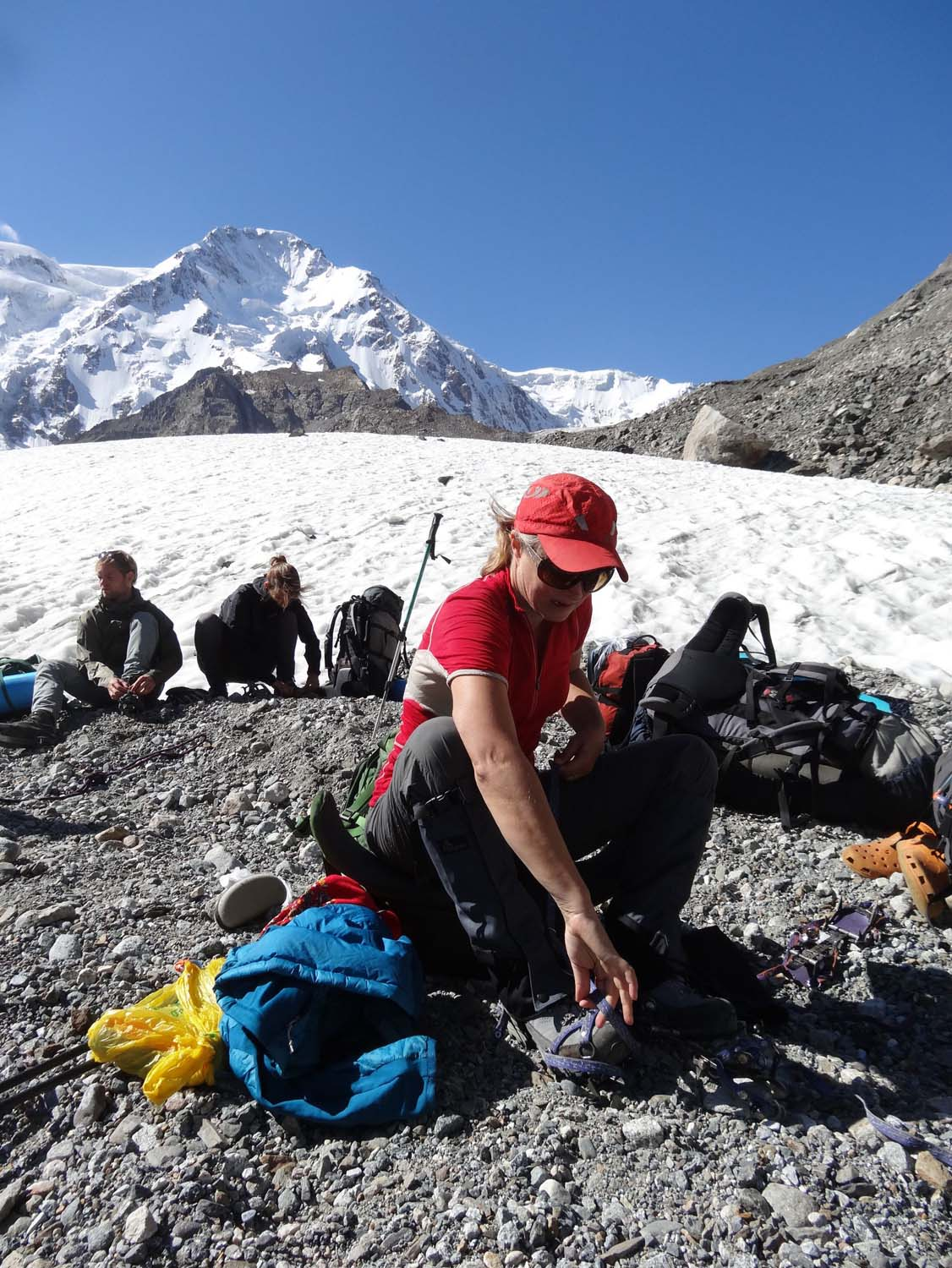 putting on our crampons