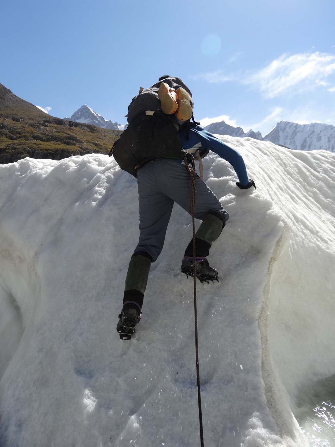 crampons make it easier to get up ice walls though