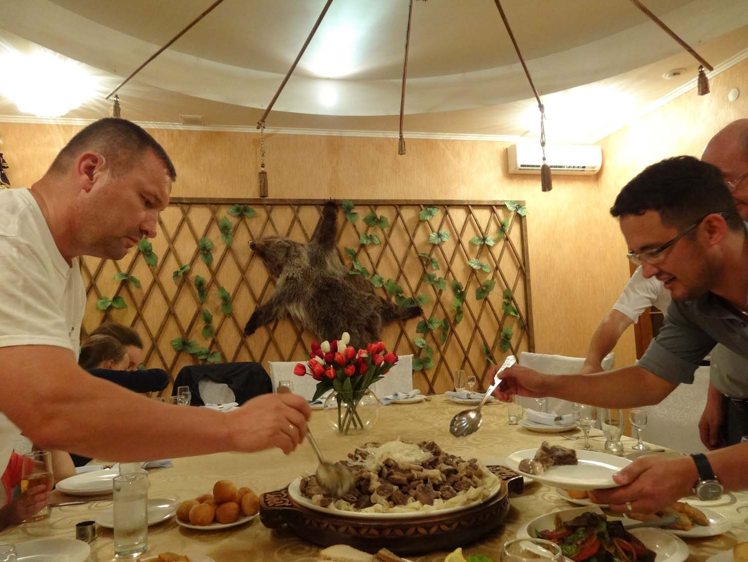 traditional Kazakh meal - Beshbarmak with Baurzhan and a few other members of his family