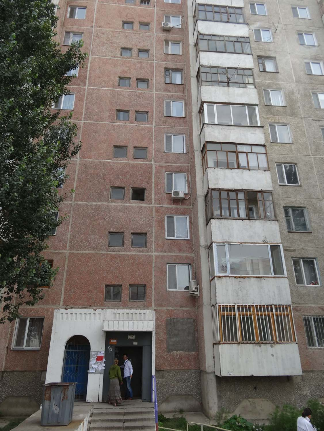 Baurzhan's parents live inside this apartment block