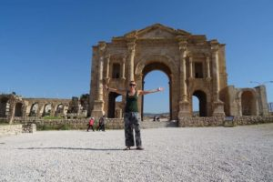 Jude at Hadrian's Arch in Jerash