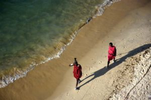 Jon takes this stunning shot of two Maasai walking on the beach from the terrace of the presidential suite at the Hyatt