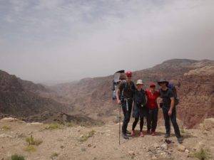 Vilmer, Bjørn, Dorthe, Jude and Jon at the start of the hike at the top of Wadi Dana