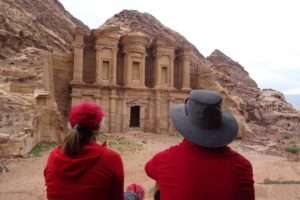 Jude and Jon at The Monastery in Petra, very impressive