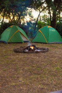 our tents by the fire