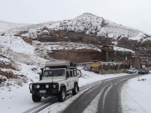 We didn't see much snow on our trip. This is in Kandovan, Iran where people still live in rock houses.