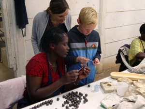 Niels learning how to make beads at Kazuri