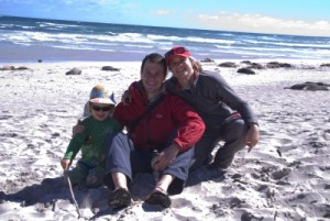 Jon and Jude with Dylan on the beach