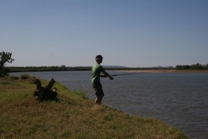 Jon fishing in the Ord River - yes massive salties roam these waters so no swimming or getting close to the waterline!