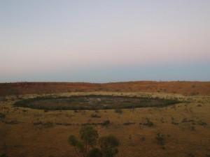 view of Wolfe Creek, a massive meteor crater