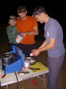Jon and Marcus making damper for the camp oven