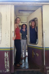 Jude, Esther and Barbara ready to go, this is our first-class wagon