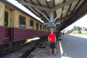 Jon at the train station in Dar es Salaam before departure