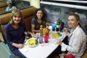 chipsi mayai for dinner in the restaurant car of the train