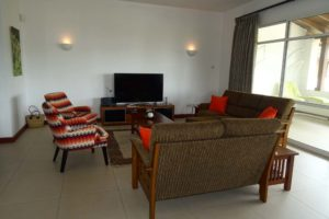 our livingroom in the Laibon apartments, you can just see our comfy chairs outside on the balcony