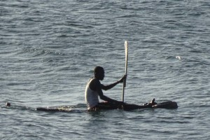 fisherman use similar boats to the ones on Lake Baringo. Here they use a paddle like a kayak though.