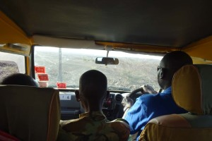 our 2 askaris in the front seat next to Miller our excellent driver and guide