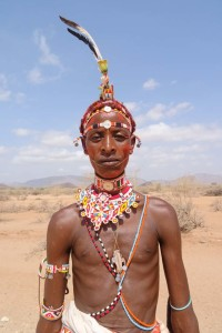 a Samburu Moran (warrior) dressed up for a wedding party