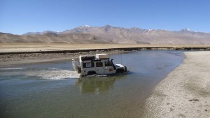 We had to cross some streams to get to Lake Yashil Kul in Tajikistan.
