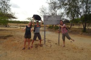 Helen, James and Jon have arrived at the Unesco World Heritage sign of Lamu...