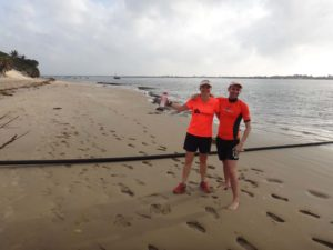 team orange goes for a run (Jude) and a swim (James)