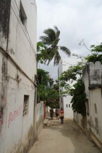 walking through the narrow streets of Shela on our way to Lamu town