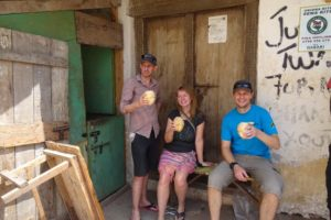 James, Helen and Jon enjoying a refreshing coconut