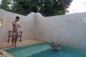 back at 'home' in Shela we enjoy a cuppa in the pool