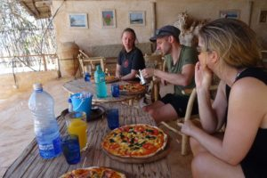 Helen, James and Jude having lunch on Manda Island