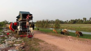 A lovely camp site in Malaysia before crossing the border into Thailand.
