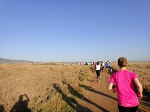 soon a long line of runners stretches out in the plains