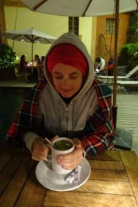 Jude enjoying a hot cup of rum with lemon, honey and ginger