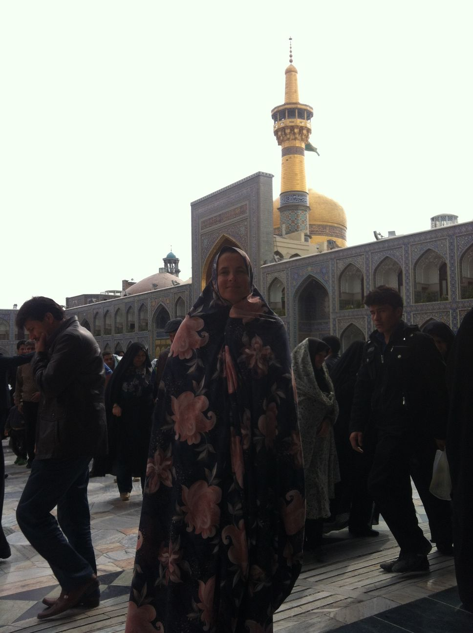 Jude with chador in the holiest shrine in Iran