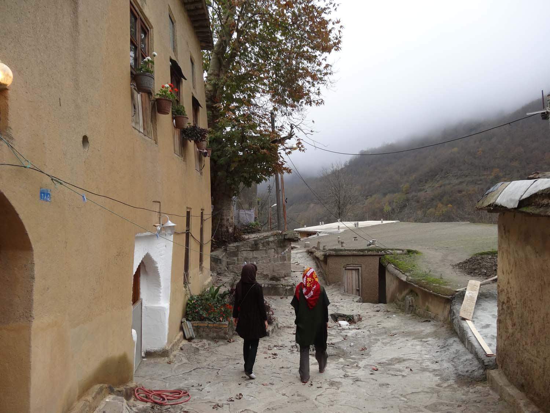 Assa and Jude walking through Masouleh