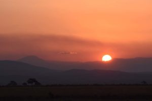 a classic African sunset in Mikumi NP
