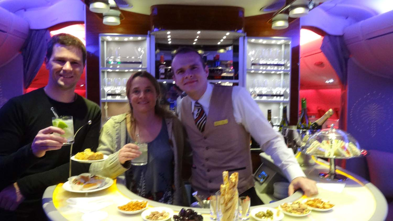 celebrating a new chapter of our lives and Jude's birthday in the bar on the upper deck of the A380