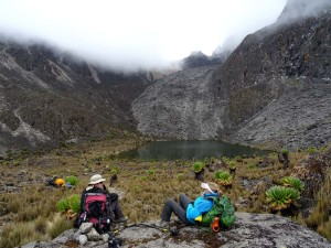 the last lake and last hike up to get back to our camp at Kami Camp and complete the circumnavigation of the peaks of Mt Kenya