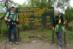 Jon and Jude at the start of the hike at the Momella gate in Arusha NP