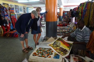 looking at paintings at the Maasai Market