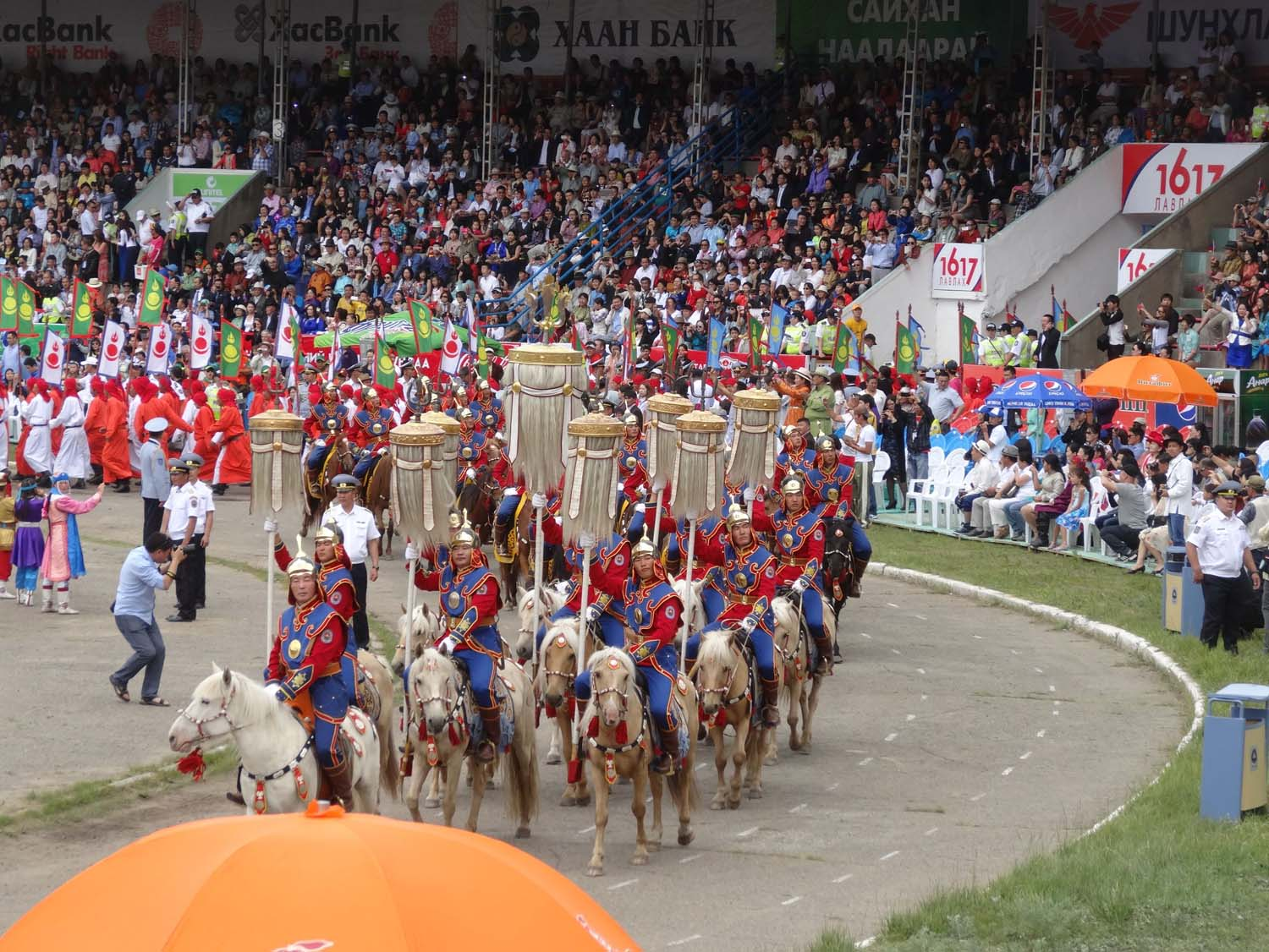 the 9 banners are carried in during the opening ceremony