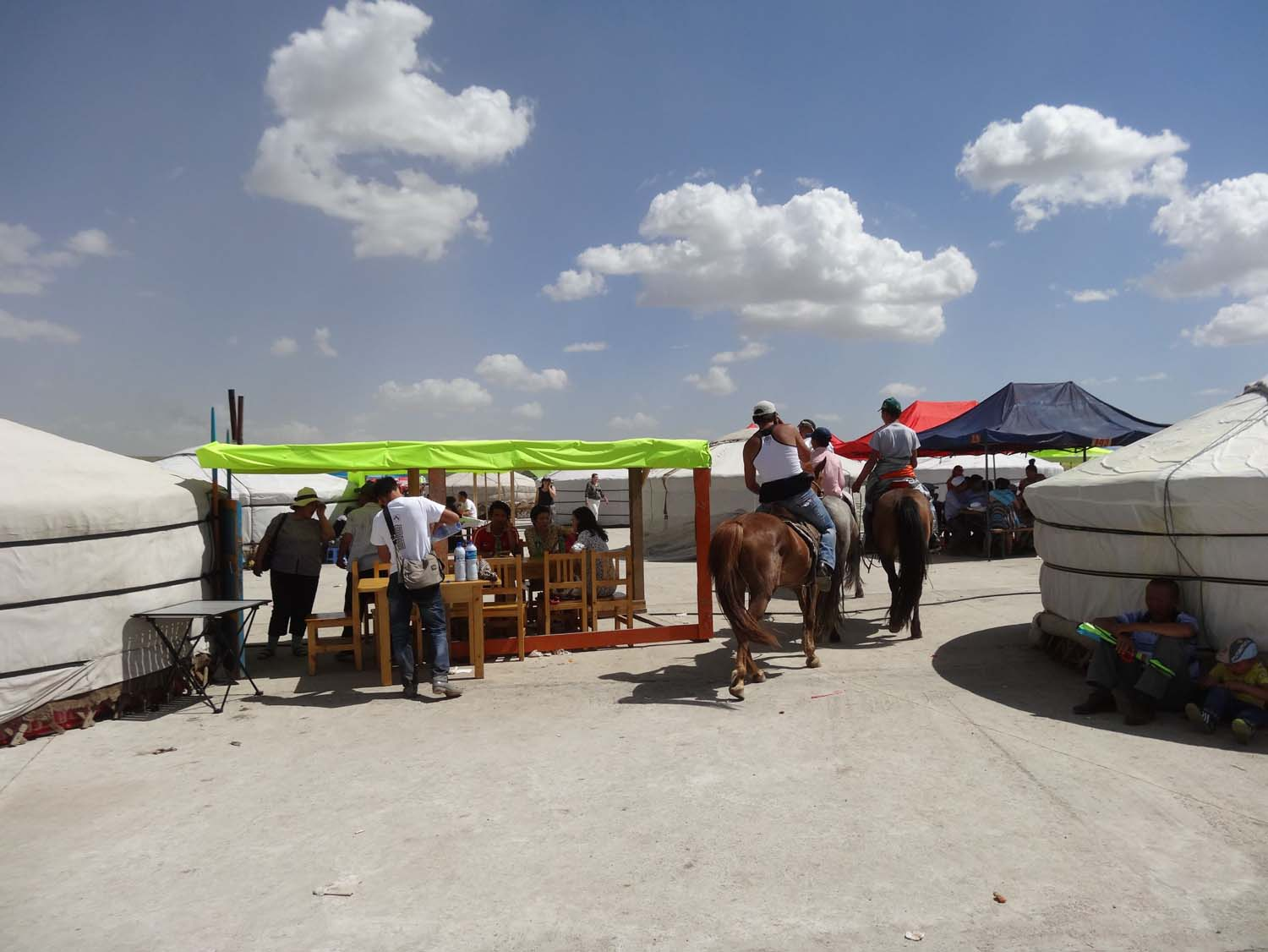 restaurants set up in the ger camp at the races, many families spend a few days or longer here