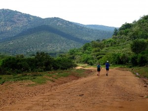 Jon and Jude running together in the Olarro conservancy