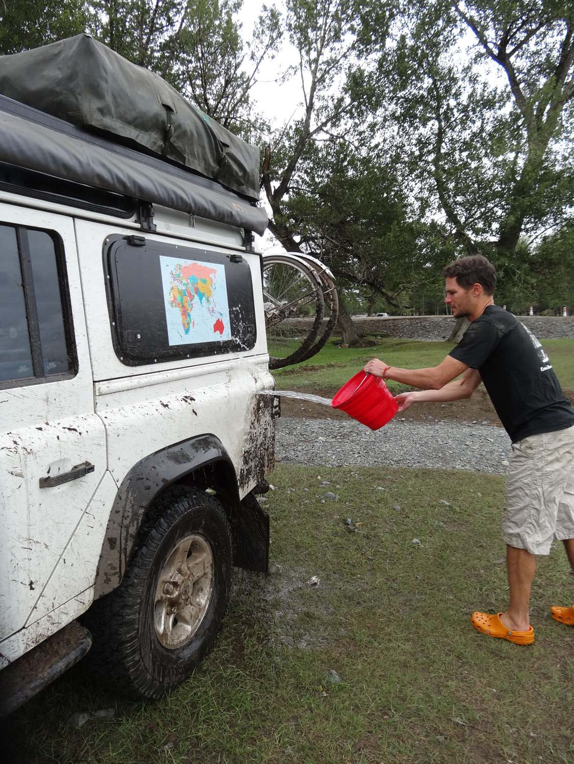 much-needed wash, we use the local rivers to give Lara a wash when we can