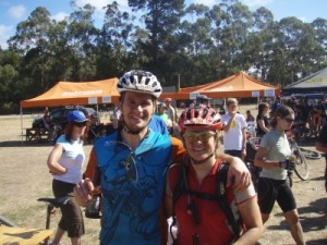 Jon and Jude at the finish - we made it!