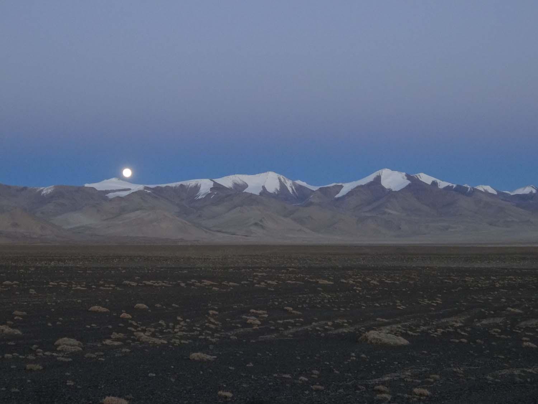 full moon at our campsite next to Lake Karakol at 3938m