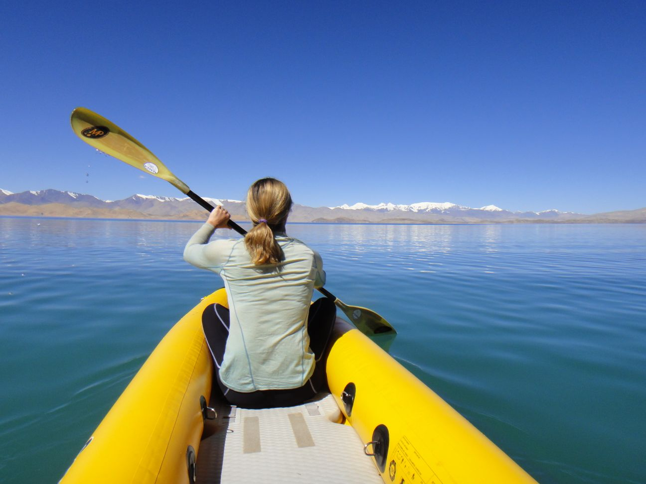 kayaking on Lake Karakol
